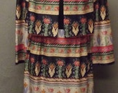 Sale Valentines 1970s Maxi Dress, 2 Pc Dress.  Long Dress with Jacket, Hippy Floral, 1970s, Size Medium,  #20945
