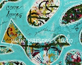 Bird Mixed Media and Collage Art Print/ 8x10 print/come home