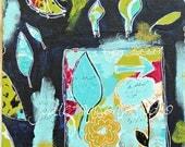 Flower art print/ Flower mixed media art painting/ abstract flowers/ leafs/joy
