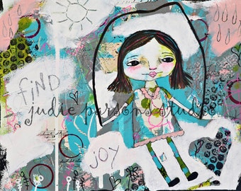Whimsical Girl Folk Art Print,  Primitive, Wall Art,  Girl Art, Mixed Media Collage,  home decor,canvas art painting, Joy-by Judie Parsons