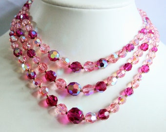 Vintage pink crystal bead necklace. 3 row necklace