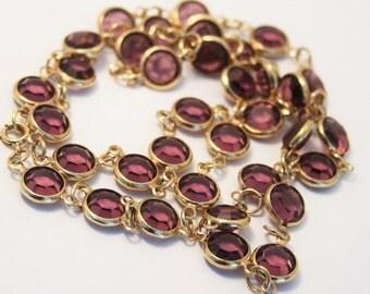 Vintage open back crystal necklace. Purple crystal necklace