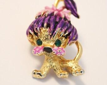 Vintage dog brooch. Purple dog brooch. Enamel brooch