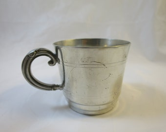 Antique Pewter Baby Cup  2.5 inches Made in Sheffield England WA Pewter Baby Cup Ornate Handle Stepped Bottom Engraved Lines