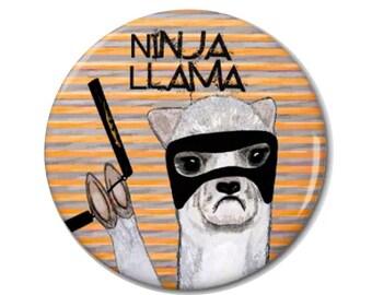 Ninja Llama Magnet or Button -W4