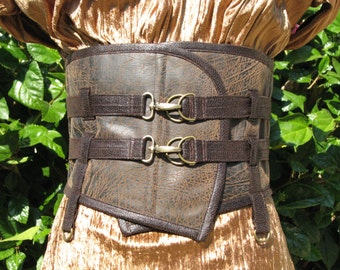 "Extra Wide Faux Leather Double Belted Steampunk Fantasy Waist Belt Waist Size 29"" to 30"" Ready to Ship"