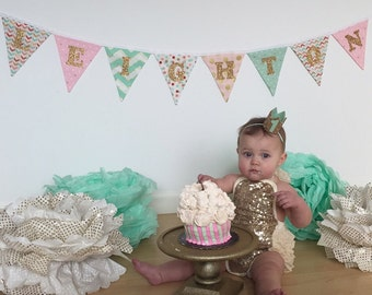 Pink Mint Banner, First Birthday FABRIC Banner, Pink Gold Name Banner, Gold Glitter Birthday Mint and Pink Photo Prop, Pink Mint Baby Shower