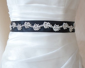SALE, EXPRESS SHİPpiNg! Jeweled Wedding Sash/Belt,Bridal Sash,Rhinestone Sash,Beaded Sash, Black Satin Wedding Sash