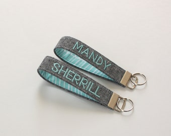 Personalized Fabric Keychain, Wristlet Keychain in Linen, Personalized Key Fob - PREORDER