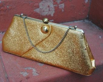 Vintage 1970's Metallic Gold Handbag