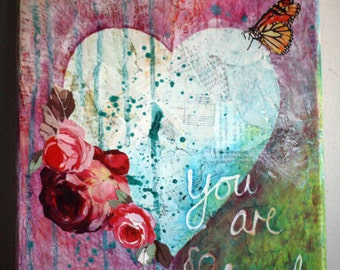 Heart painting, You are so loved, acrylic, mixed media on canvas, love, heart and roses, heart and butterfly,