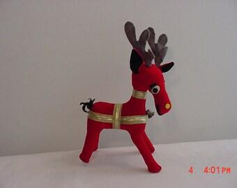 Vintage Dankin Plush Reindeer Christmas Decoration  16 - 409
