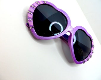 Purple Pink Disney Princess Rapunzel Tangled Inspired Heart Shaped Sunglasses With Pale Purple Rhinestones and Bows