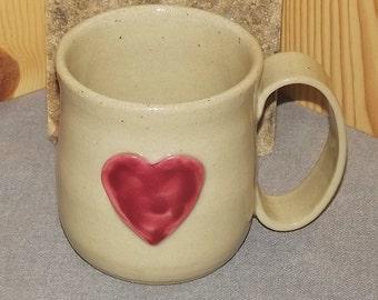 Heart Mug  Original Hand Thrown Stoneware 14 oz
