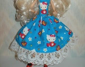 Handmade Monster and Fairy Tale doll clothes -blue, pink and white kitty dress
