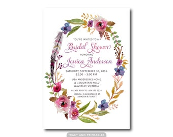 Bridal Shower Invitation  | Flowers and Feathers  | Floral Bridal Shower | Watercolour Invite | Printable Bridal Shower | Printable |  2561