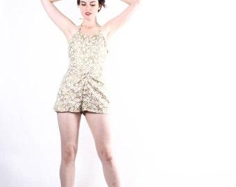 70% Off FINAL SALE - Vintage 50s Gold Bathing Suit   - Vintage Bathingsuits - 50s Swimsuit  - The All that Glitters Swim Suit - 6168