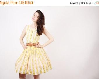 SALE 65% OFF ends 02/16 1950 Yellow Floral Cotton Dress  - 50s Rustic Dresses  -  The Saffron Dress  - 5273