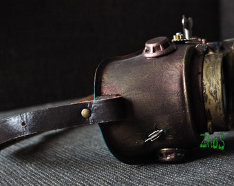 Steampunk goggles Glasses Crazy Scientist Time Travel Gear wheels watch Victorian cyber punk welding hat Airship Captain