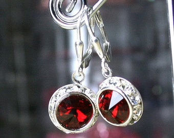ON SALE Swarovski Rivoli Crystal and Rhinestone Bezel Earrings in Scarlet Red - Swarovski Crystal and Sterling Silver Leverbacks