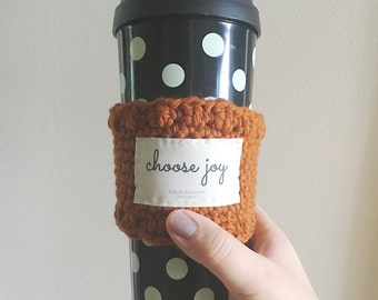 Blessed or Choose Joy Crocheted knitted coffee cup sleeve cozy - pumpkin spice burnt orange - coffee lovers gift - Christmas gifts