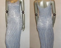 30% Off Sale VTG Alfred Venini NWT Unworn Light Blue Double Scoop Neck Strappy See Thru Spider Web Crochet Mesh Beads Embellish Lined Long M