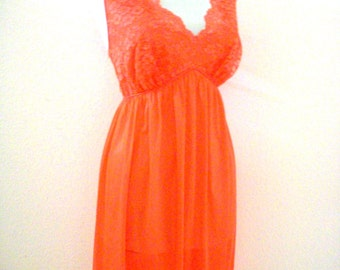 Vintage 60s Tangerine Negligee from Vanity Fair - 1960s Orange Nylon Nightgown - Chiffon and Lace Nightgown - Size 36 Medium to Large