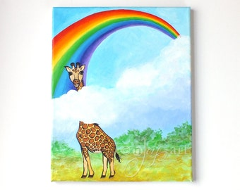 Keep Looking Up - 11x14 inch original acrylic painting of a giraffe and rainbow