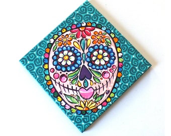 "Sugar Skull Girl - 12""x12"" Acrylic Painting, Whimsical Wall Art for Home, Office or Kids Rooms."