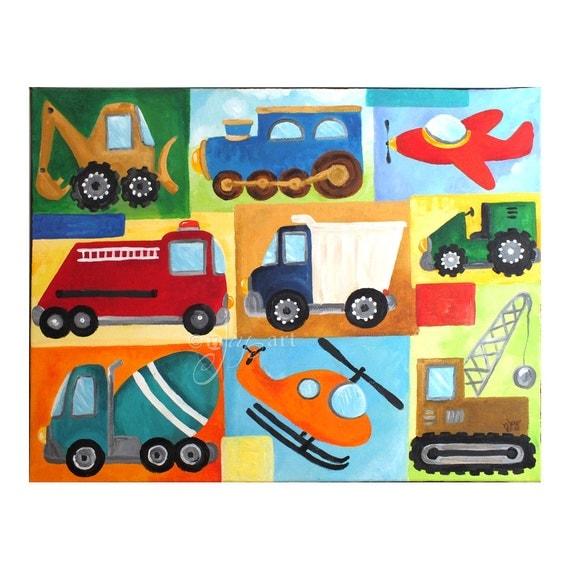 Custom Vehicle Art for Boys Room, CUSTOM 20x16, Boys Nursery Transportation Collage