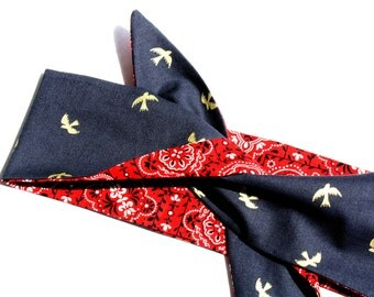 Vintage Inspired Headscarf, Navy Birds, Red Bandana, Retro, Rockabilly
