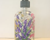 Hand Painted Glass Liquid Soap Lotion Dispenser Bottle Hand Pump Wild Flowers Bumblebees Butterflies Purple Yellow/Orange Blue White Pink