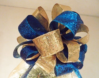 Christmas Tree topper bow Teal Blue Glitter and Gold SEQUIN Ribbon 8 ft tails and 6 matching ornament bows