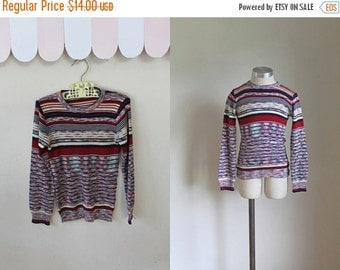 40% OFF back2school SALE vintage 1970s child's sweater - AUTUMN Sunset space dye knit top / 7yr