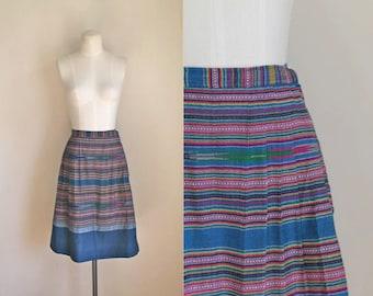 vintage 1960s ethnic skirt - BLUE STREAM teal ikat skirt  / XS
