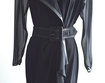 Vintage 80s BB Collections Belted and Sheer Jacket Black Dress