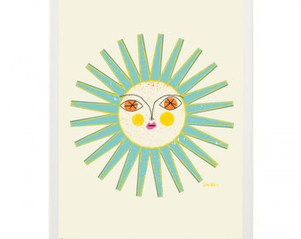 Sun Face 1 v3 framed Mid Century Modern Illustration Print