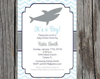 Shark Baby Shower Invitation, nautical baby boy shower, baby shower, DIY, digital, printable