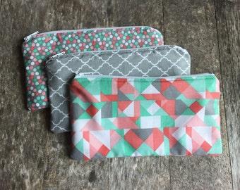 Reusable Snack Bags, Set of Three Reusable Snack Bags, Pink and Green Reusable Snack Bags, Gift Idea, Stocking Stuffer, Kids Gift Idea