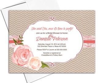 Rustic bridal shower invitation fall | country wedding shower invitation printable or printed | kraft coral chevron - WLP00610