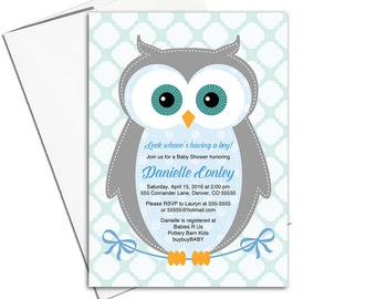 Unique baby shower invitations owl | boy baby shower invites woodland | blue, gray, aqua | Evite, DIY printing or printed - WLP00784