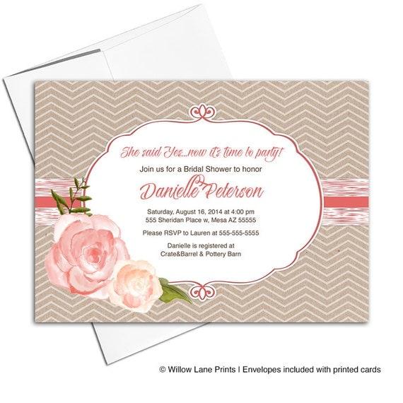 Rustic bridal shower invitation fall   country wedding shower invitation printable or printed   kraft coral chevron - WLP00610
