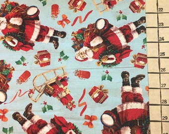 "Light Weight Woven Cotton Christmas Santa Presents Fabric 1 Yard X 43"" Wide #3934"