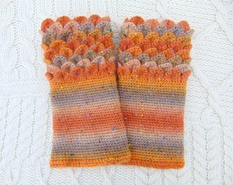 Crocodile Stitch Dragon Scale Gauntlets Crochet Autumn Colours Wrist Warmers Wrist Cuffs Handmade in Ireland