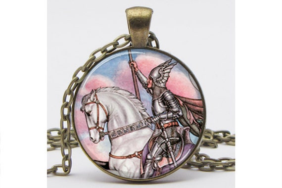 Jousting Knight Silver Plated Necklace with Chain Resin Pendant Picture Pendant Art Pendant Photo Pendant