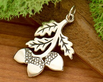 Oak Branch Charm - Sterling Silver