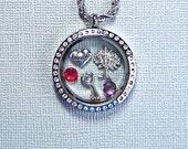 Grandma locket necklace, you choose charms, floating charm jewelry, stainless steel twist top memory locket, keepsake gift for Grandma
