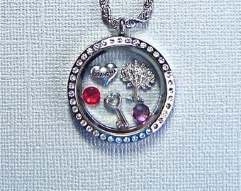 Floating charm memory locket necklace for Grandma, you choose charms, stainless steel twist top locket jewelry, keepsake gift for Grandma