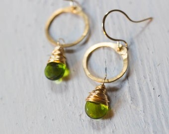 Green Earrings, Green and Gold, Hammered Metal, Gift for Her