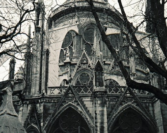 Travel Photography, Landscape Photography, Art Print, Architecture, Black White Print, Notre Dame Cathedral in Paris- Digital Photography